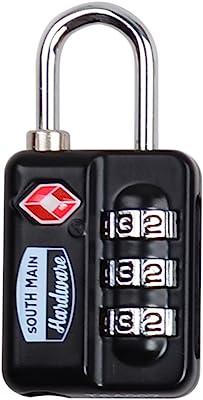 South Main Hardware TSA-Accepted Resettable Luggage Lock, Black