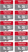 Gigastone 16GB 10-Pack Micro SD Card, Camera Plus 90MB/s, Full HD Video, U1 C10 Class 10 Micro SDHC UHS-I Memory Card, with MicroSD to SD Adapter
