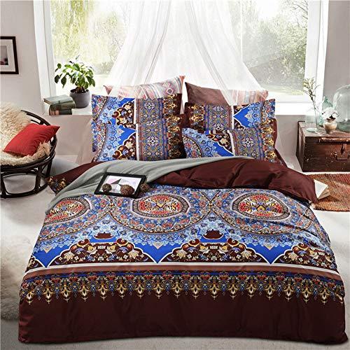 Bohemian Mandala Duvet Cover Set 3 Pcs Hippie Gypsy Nirvana Yoga Indian Bedding Soft Microfiber Quilt Covers Double Blue Floral Boho Style Comforter Cover/C / 180 * 220cm