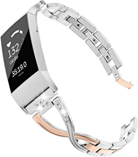 Fitbit Charge3バンド/フィットビット チャージ3 バンド Wearlizer fitbit charge 3ベルト fitbit charge3 交換バンド ステンレス バンド 工具なしで長さ簡単調整 (ローズゴールド+シルバー)