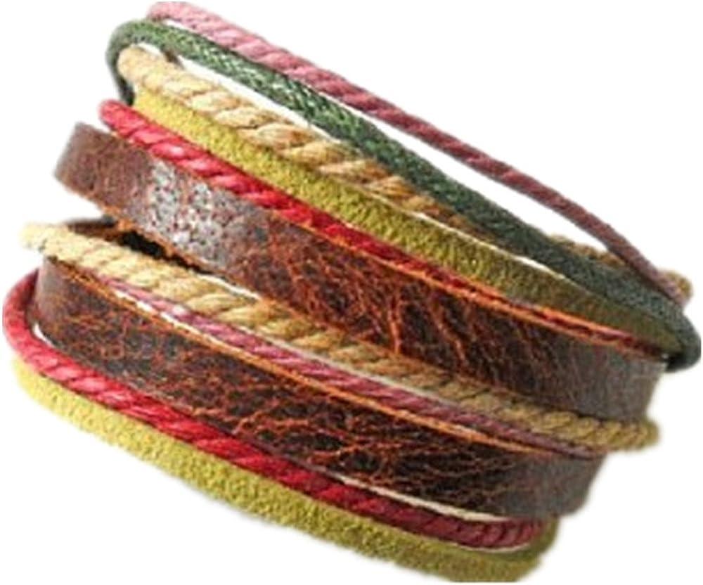 COOLLA Adjustable Leather Bracelet Buckle Bracelet Made of Hemp Ropes Brown Leather Cuff Bracelet SL2326