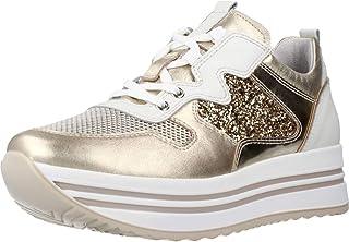 Nero Giardini E115192D Etoile Argento Lybra Met Sneakers per Donna Zeppa Pelle Glitter cangiante