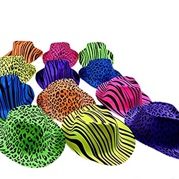 Novelty Place Neon Animal Print Plastic Party Hats Fedora with Gangster Mafia Style UV Blacklight Glow Party Stars Rave Hats for Kids and Teens in Birthday Concerts Music Party Pack of 12