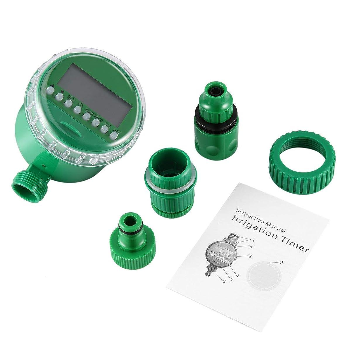前文によって疎外Saikogoods LCDディスプレイ自動インテリジェント電子水タイマーパッキンデザインソレノイドバルブ灌漑スプリンクラーコントローラ 緑