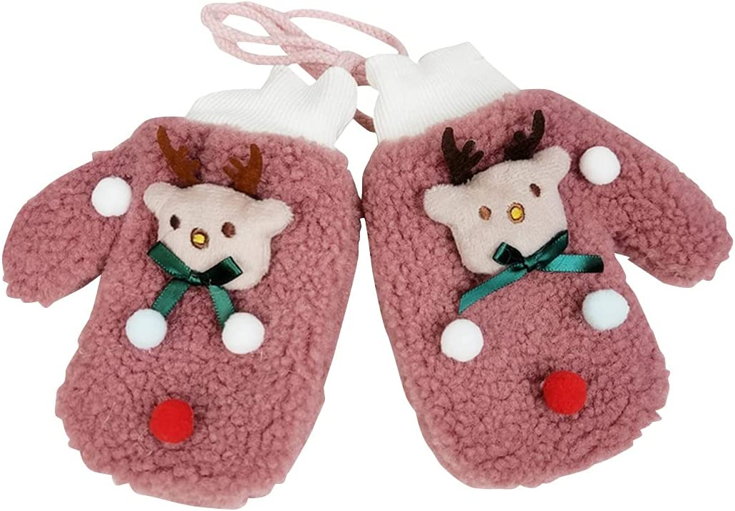 COSYOO Portable Party Festive Adorable Kids Knit Mittens Cute Protective Cartoon Handmade Thickened Winter Mittens with Lanyard for