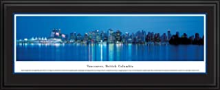 Vancouver, British Columbia at Twilight - Blakeway Panoramas Print with Deluxe Frame & Double Mat