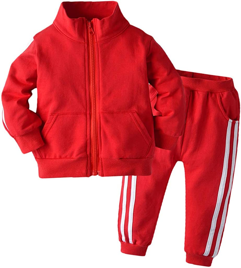 Baby Boys Girls 2Pcs Outfits Tracksuit Clothes Set for 0-4T Little Kids Toddler Sweatshirt Pocket Pullover Tops+Trousers