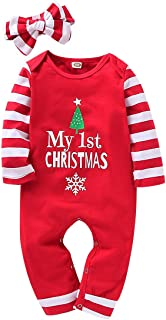 My 1st Christmas Newborn Infant Baby boy Girl Clothes Print Striped Jumpsuit Romper Pajama+Striped Headband Outfit Set