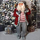 Fraser Hill Farm Life-Size Indoor Christmas Decoration, 5-Ft. Standing Santa Claus Holding Snowshoes & Wearing a Nordic Sweater, Red