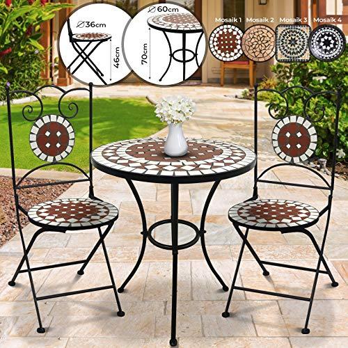 Jago Mosaik Balkonmöbel Set - Tisch rund oder eckig (Ø/H: 60x70cm) mit 2 Stühlen Klappbar (46cm Sitzhöhe), Farbwahl - Sitzgarnitur, Sitzgruppe, Gartenmöbel (Terracotta-Weiß)
