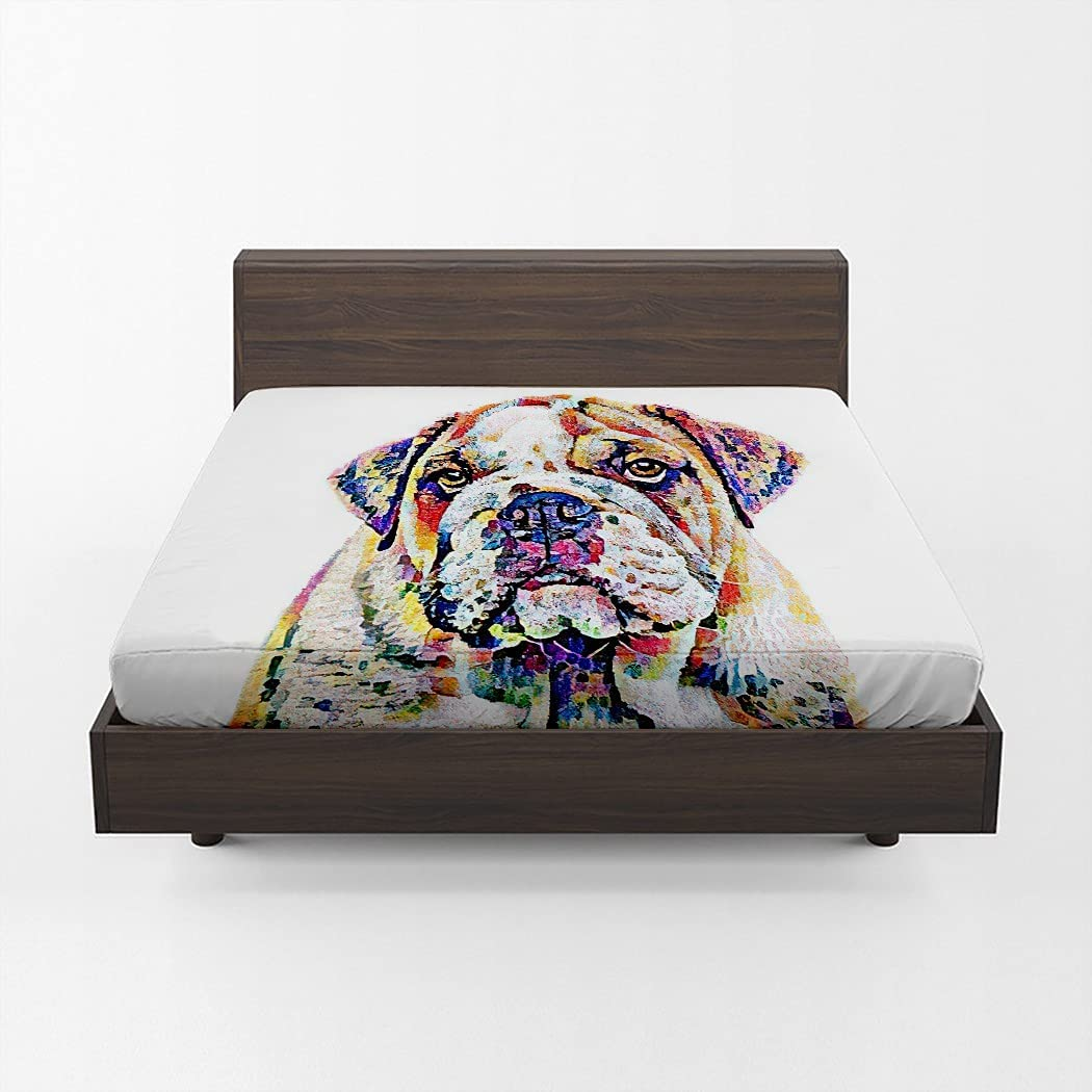 MOOTFAY Colorful Fitted Sheet Beauty products Time sale Abstract Painting Ame Dog Bulldog
