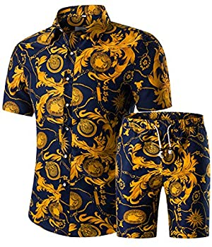 Men s Floral 2 Piece Tracksuit Short Sleeve Top and Shorts