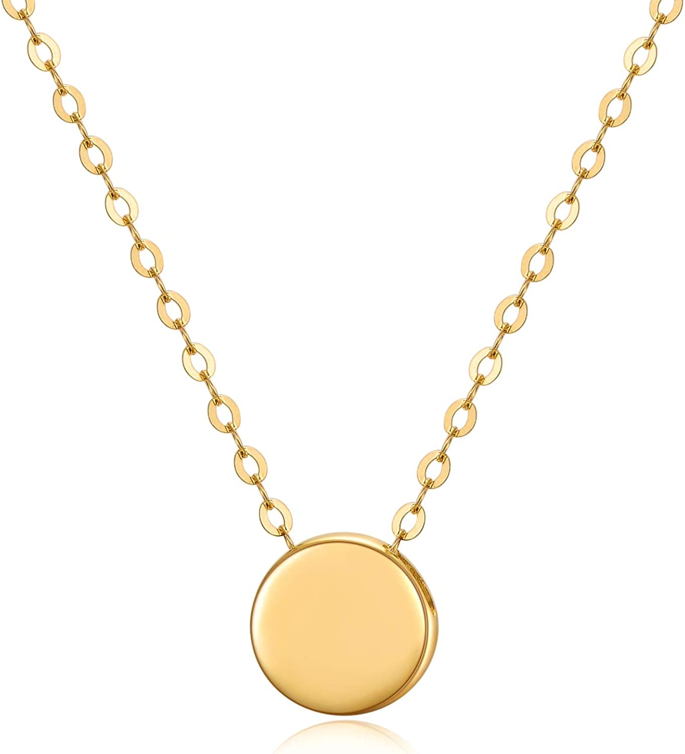 14K Solid Gold Dot Necklace for Women 7mm Round Dot Adjustable Choker Pendant Necklace Fine Jewelry for Her, Wife, Mom, Girls 16