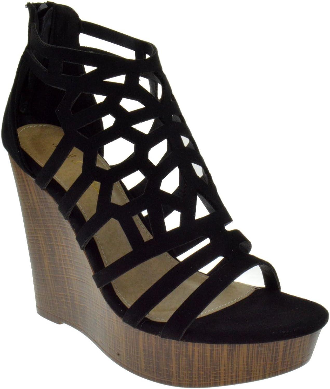 Mark & Maddox Victor 05 Peep Toe High Heel Caged Wedge Platform Sandals