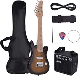 Docooler Muslady 28 Inch Kids Children ST Electric Guitar Kit Maple Neck Paulownia Body with Mini Amplifier Guitar Bag Str...