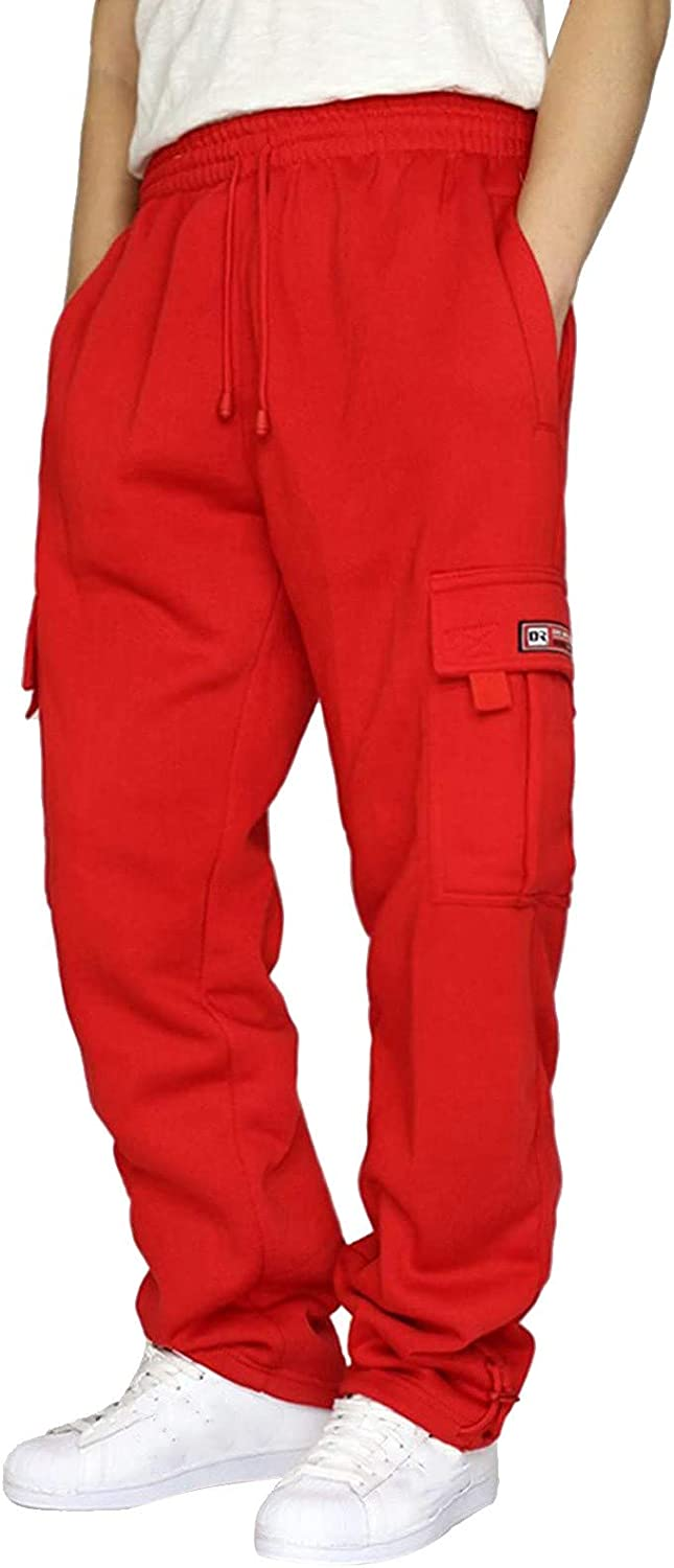 Mens Casual Cargo Sweatpants Fleece Rope Loose Fit Drawstring Athletic Gym Jogger Pants Running Sports Trousers with Pockets