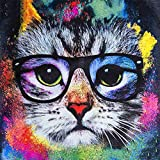 Paint by Numbers Kit for Adults Kids Animal Cute Colorful Glasses Cat Creative Enterntainment Relax Canvas Painting 40x50cm