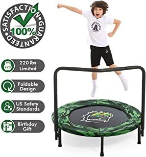 2019 Upgraded Dinosaur Camo Kids Trampoline with Handle,Foldable Mini Trampoline for Kids Play & Exercise Indoor or Outdoor,Toddler Rebounder Trampoline for Jump Sports