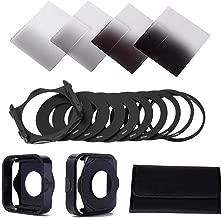 8Pcs/Set Square Filter kit Complete Set for ND2 ND4 ND8 ND16 for Cokin +Square Filter Holder + Ring Adapter + Lens Hood Black