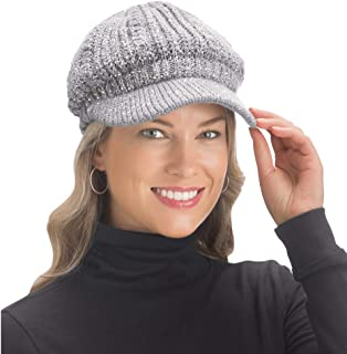 Lurex Cable Knit Beanie Hat with Visor Brim - Stylish Winter Accessories for Warmth