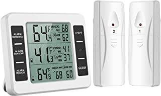 ORIA Refrigerator Thermometer, Wireless Digital Freezer Thermometer with 2 Wireless Sensors, Audible Alarm, Min and Max Record, LCD Display for Home, Restaurants, Bars (Battery not Included)
