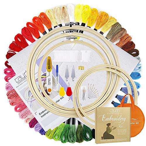 Caydo Full Range of Embroidery Starter Kit Including Instructions, 5 Pieces Bamboo Embroidery Hoops, 50 Color Threads, 2 Pieces Aida Cloth, Circular Packing Bag and Cross Stitch Tool Kit for Beginners