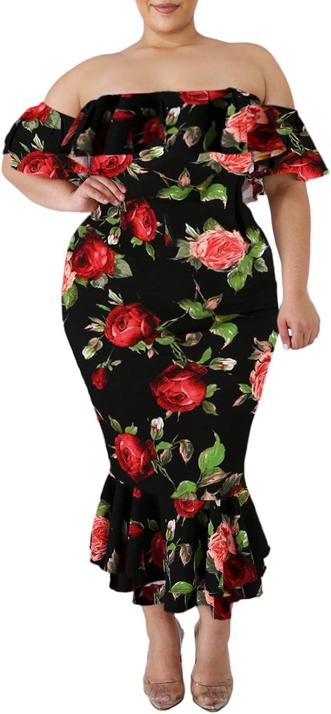 GOSOPIN Women Plus Size Off Shoulder Long Formal Dress Floral Evening Gown