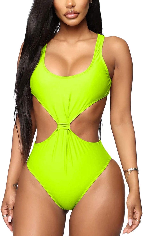 ioiom Womens Sexy High Waist One Piece Swimsuit Cut Out Tummy Control Swimwear