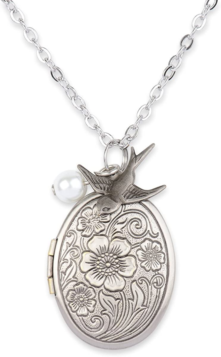 Antique Swallow Bird and Pearl Charm Pendant Picture Locket Necklace