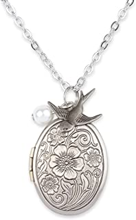 Mint Jules Antique Swallow Bird and Pearl Charm Pendant Picture Locket
