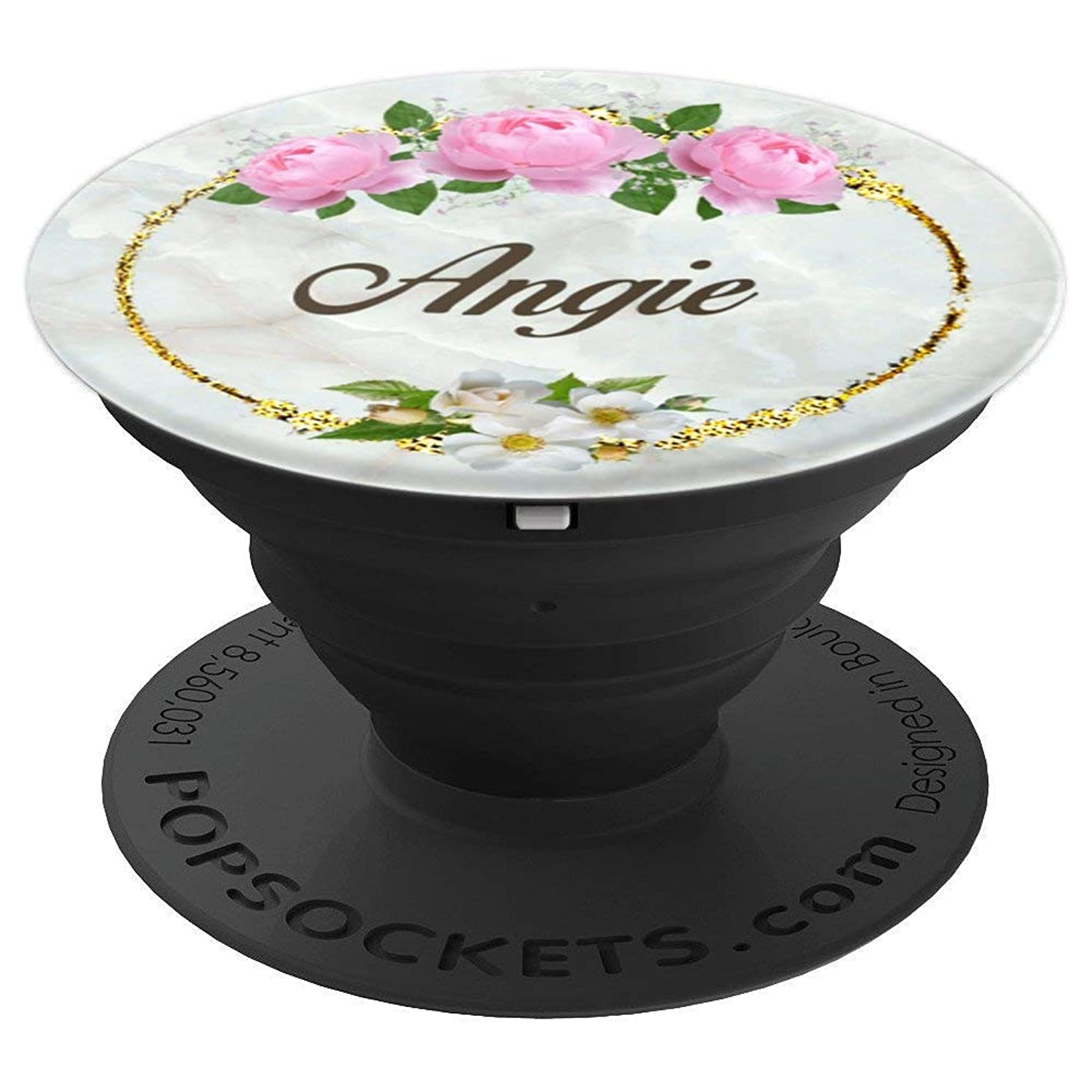 First Name Angie Pink Rose Marble Gold Floral PopSocket - PopSockets Grip and Stand for Phones and Tablets