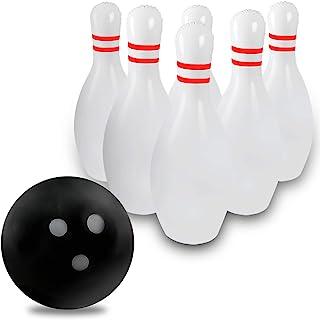 Novelty Place Juego de Bolos Inflables Gigantes para Niños y Adultos, Una Bola de Boliche de 45 centímetros con Seis Bolos de 60 centímetros