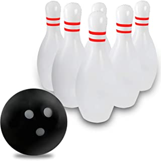 Novelty Place Giant Inflatable Bowling Set for Kids, One 18 Inches Ball with Six 24 Inches Pins