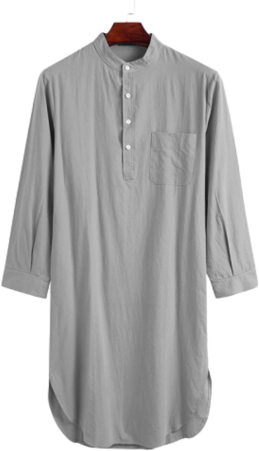 5 ☆ very popular Men's Solid Sales for sale Color Long Shirt Pocket Side Stitching Streetwear Si
