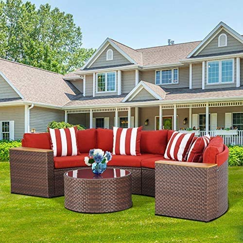SOLAURA Outdoor Patio 5-Piece Sectional Furniture Half-Moon Sofa Brown Wicker Red Cushions & Sophisticated Glass Coffee Table