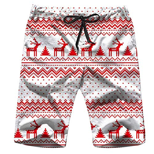New Years Christmas Pixel Holidays Mens Swim Trunks Summer 3D Print Graphic Casual Athletic Swimming Short Pants XL