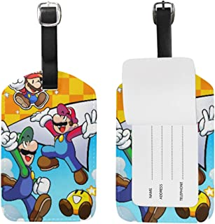 Luggage Tags Super Smash Bros Mario And Luigi's Paper Jam Adjustable Strap Leather luggage tag for Suitcases Baggage