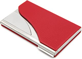 Business Name Card Holder/Card Case PU Leather & Stainless Steel For Men & Women - Red