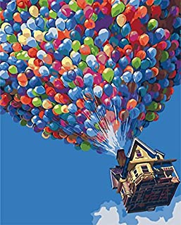 """Lixada New DIY Unframed Digital Oil Painting by Numbers Hand Painted Paint By Number 16*20"""" Flying Ballons Dream House Pat..."""
