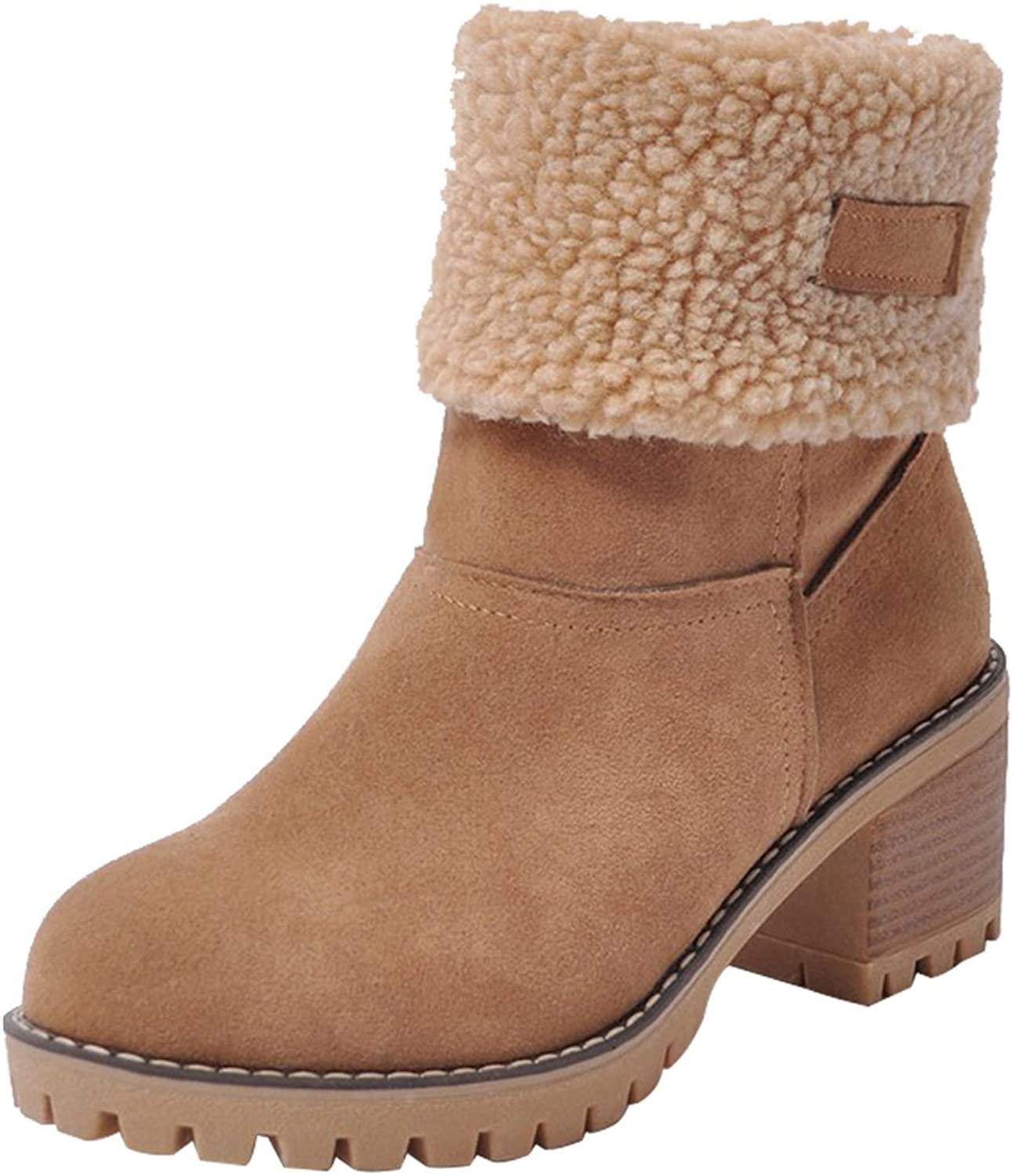 MORNISN Womens Winter Snow Boots Round Toe Suede Chunky mid Heel Faux Fur Warm Ankle Booties