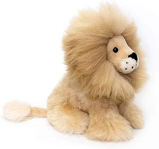 Sitting Lion. Handmade on Baby Alpaca Fur. Beige Mane. 11 inch.