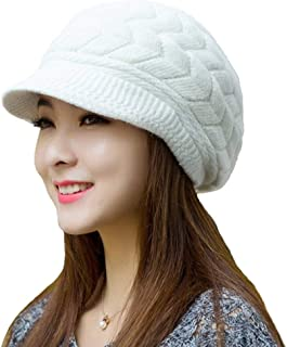 Urban Virgin Womens Snow Warm Knitted Winter Wool Beanies Hats For Women Slouchy Cap With Visor
