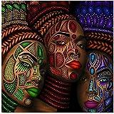 wzgsffs Figura Africana Cara Retrato de Mujer Arte de LienzoNiñas étnicas Cuadro Pintura de Pared Decoración para Sala de Estar -50x50 cm * 1 Sin Marco