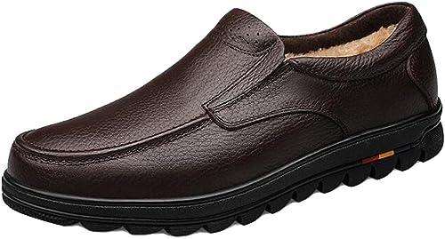 SYYAN Hommes Cuir Véritable Hiver De Plein air Garder au Chaud Fond épais Oxford Chaussures , marron , 40