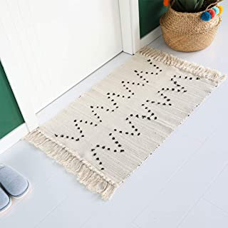 Cotton Woven Bathroom Rug   Moroccan Tribal Tassels Rug Runner 2' x 3' Cotton Throw Small Chic Rag Rug   Beige with Black Geometric Decorative Rugs   for Bedroom Living Room Laundry Room