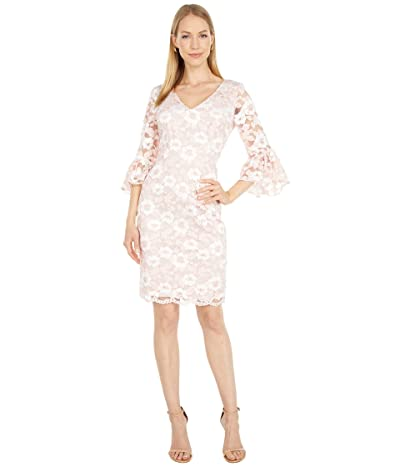 Adrianna Papell Bell Sleeve Lace Sheath