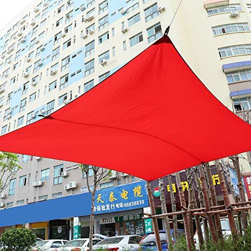Lyrlody – Toldo de sol gris/beige/rojo 3 x 4 m, toldo vela parasol rectangular para exteriores jardín Verande, de poliéster impermeable, con 4 x 4 m cuerda de nailon + bolsa, rojo