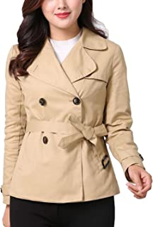Women's Slim Fashion Fit Double-Breasted Short Trench Coat with Belted