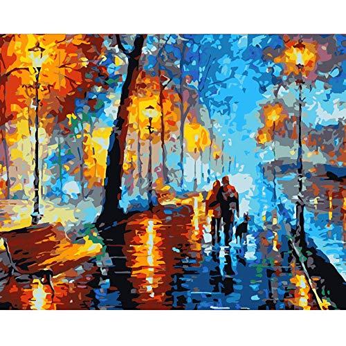 SDHJMT Anfänger Malen nach Zahlen Kit Gehende Digitale Bildwanddekoration der abstrakten Ölfarbe der Paare Leinwand DIY ölgemälde 16x20inch