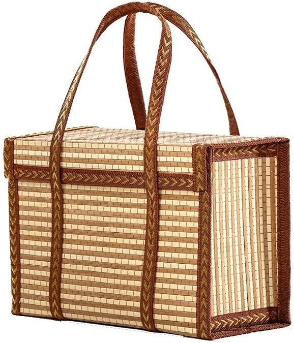 Limited time for free shipping Bargain Hand-held Picnic Basket Pastoral Wicker Wove Style Hamper